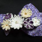 卒業式袴の髪飾りを手作りでリボンに白い花をつまみ細工!ショートヘアもOK
